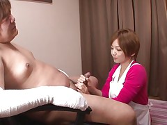 Because this guy has his hands injured and can't masturbate the lovely nurse Meguru helps him with that problem. She takes off her clothes, remains only in that sexy white bra and panties and then begins to lick his dick gently. Meguru wants to satisfy him and receives a of of jizz in return!